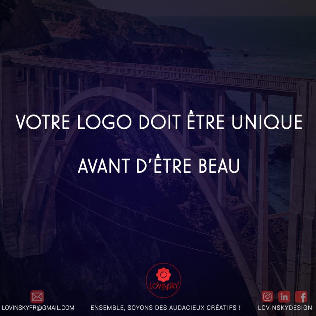 votre logo doit être unique avant d'être beau citation créative lovinsky graphiste webdesigner freelance indépdant nantes 44