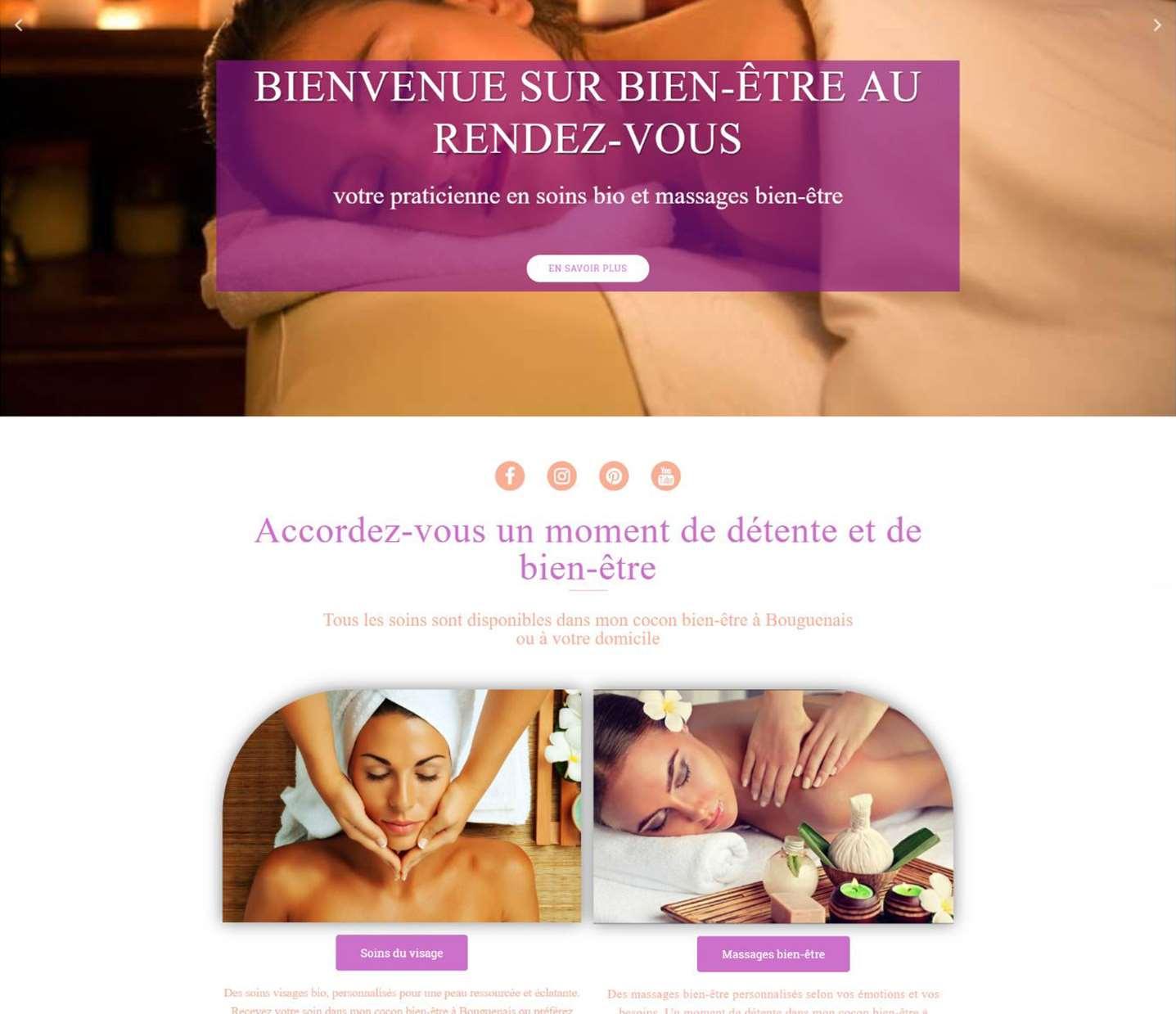 bien-être au rendez-vous site web massage fait par lovinsky graphiste webdesigner à nantes