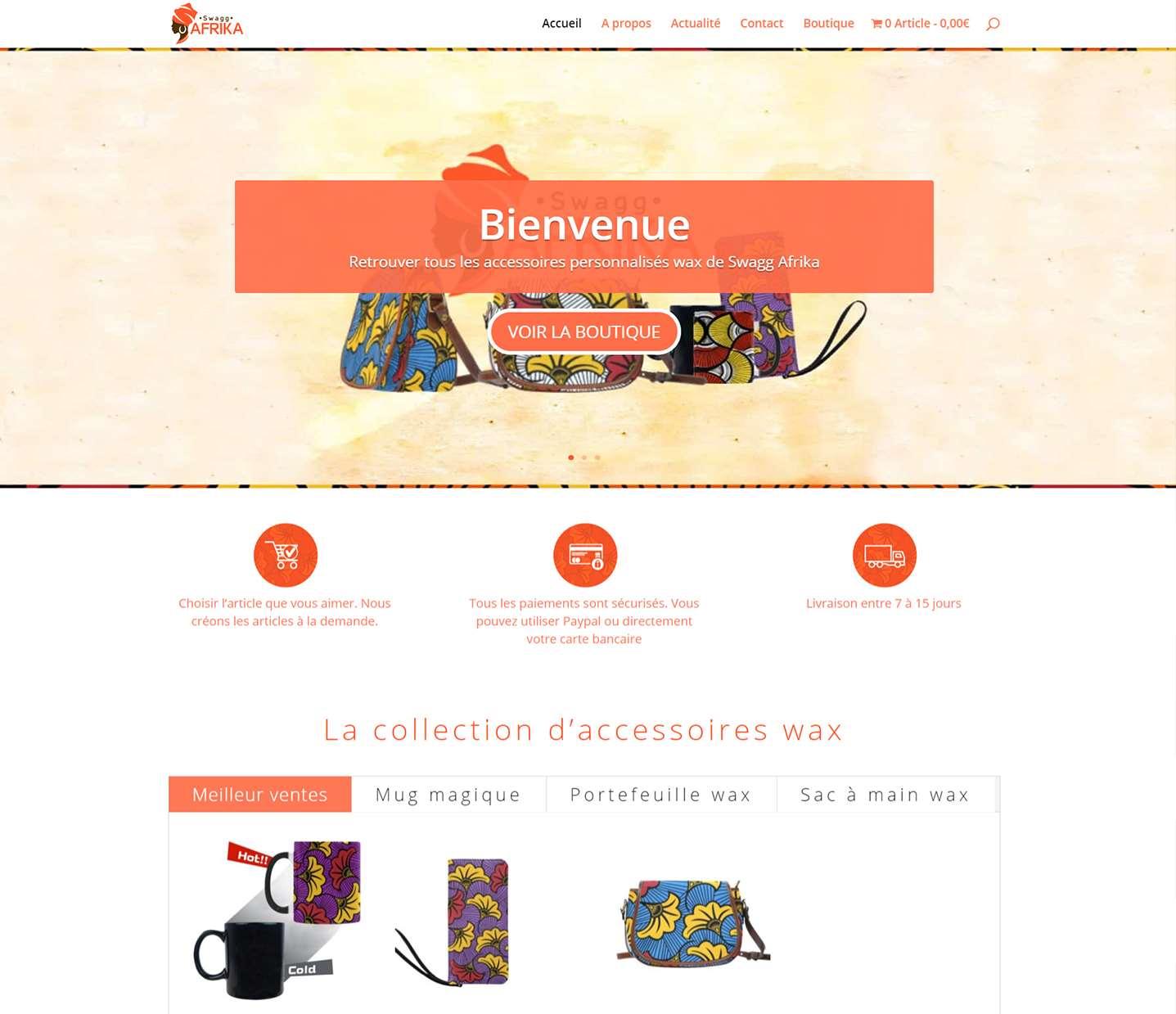 boutique en ligne swagg afrika vente de produit wax fait par lovinsky graphiste webdesigner