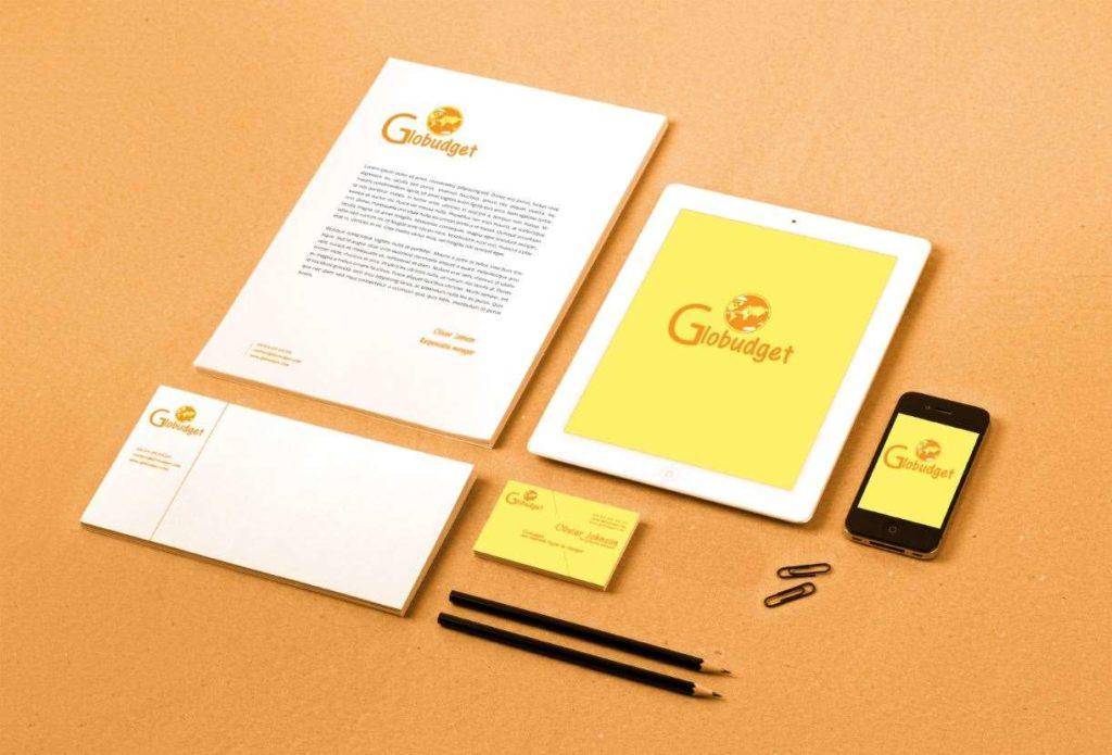 identité visuelle branding-mockup-globudget lovinsky freelance graphiste webdesigner nantes 44